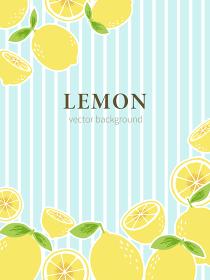 爽やかなブルーのストライプの背景に手書きのレモンを配置した背景素材