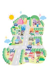 太陽が出ている自然豊かな町に、働く人、家族、様々な人々が活気のある生活をしている