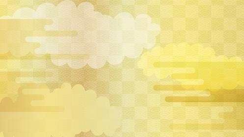 複数の雲と青海波の連続模様の背景イラスト