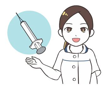 女性医師 注射器