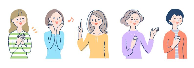 笑顔の女性5人 セット