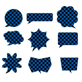 イラスト素材:和風和柄の市松模様漫画コミックの吹き出しのイラストセット9種ベクターデータ