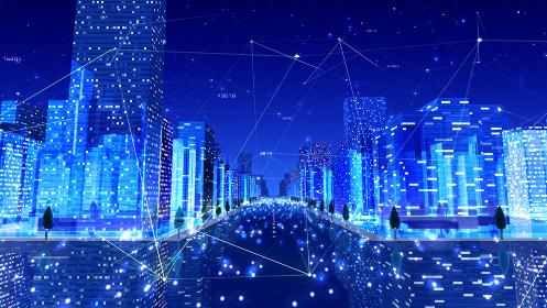 デジタル 都市 街 ネットワーク ビッグデータ テクノロジー 通信 ビル 建物 3D イラスト 背景