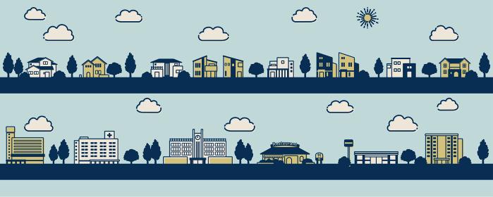 モダンな住宅のある街並みのイラスト(レトロ風)