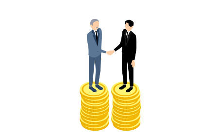 握手をするビジネスマン、ビジネスシーンのイメージ、アイソメトリック