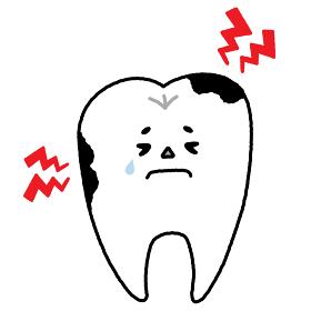ゆるかわ系 歯のキャラクター(虫歯)