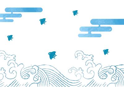 和柄波千鳥の背景イラスト 浮世絵風大波と千鳥 年賀状暑中見舞い素材モノトーン