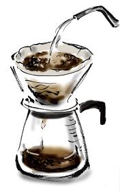 和風手描きイラスト素材 料理シーン ドリップコーヒー, ドリッパー