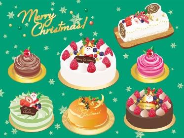 クリスマスケーキのセットイラスト