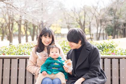 屋外のベンチで食事(3人家族)