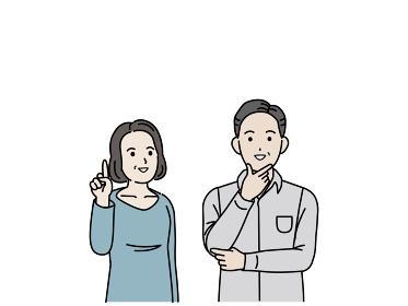中高年の夫婦 上を見る なるほど 上を指す ポーズ 男女 ミドル コピースペース イラスト素材