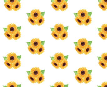 ひまわり ヒマワリ 向日葵 模様 白 夏 花 イラスト 手描き