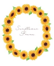 ひまわり ヒマワリ 向日葵 枠 フレーム 黄色 縦 夏 花 イラスト 手描き
