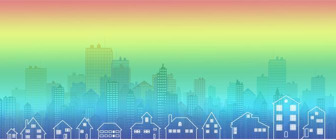 虹色の街パノラマCG