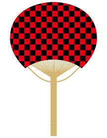 団扇うちわのイラスト_伝統文様伝統模様和柄市松模様赤