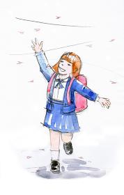 桜と1年生の水彩イラスト