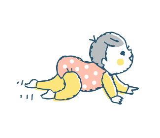 ハイハイする赤ちゃん ピンク