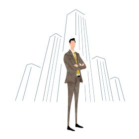 イラスト素材:ビジネスシーン、スーツ姿の若い男性