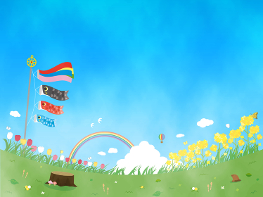 こどもの日 鯉のぼり 水彩 春の風景 背景 イラスト素材