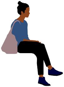 座っている人物・ 全身シルエットイラスト (女性・黒人)