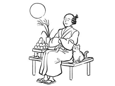 日本画タッチのお月見をする人物イラスト