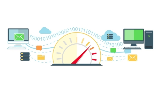 Web traffic internet icon flat isolated. Service feedback, network speed, computer optimization, communication and connection, data process, stream server illustration. Web traffic concept