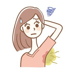 脇汗の臭いに悩む女性