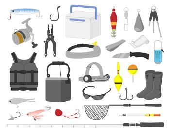 魚釣り道具イラスト素材セット