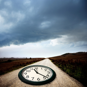 clock on the dirt road