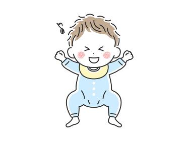 ベビー服を着て寝転んでいるご機嫌な赤ちゃんのイラスト