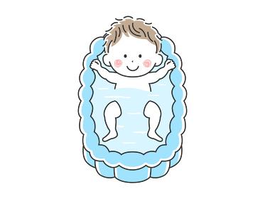 沐浴する笑顔の赤ちゃんのイラスト
