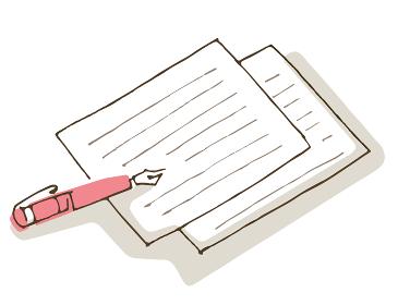 便箋とピンクの万年筆