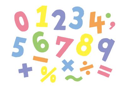 カラフル数字の手描きフォント