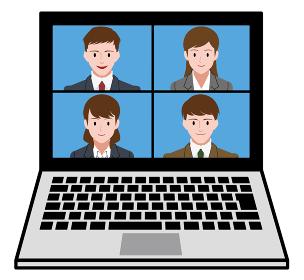 ノートパソコン、オンライン会議をするビジネスマンとビジネスウーマン