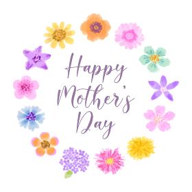カラフルな可愛いお花のリース水彩画、母の日グリーティングカード