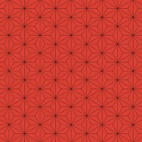 麻の葉模様 黒×赤 5
