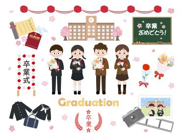 卒業式と生徒のイラスト素材