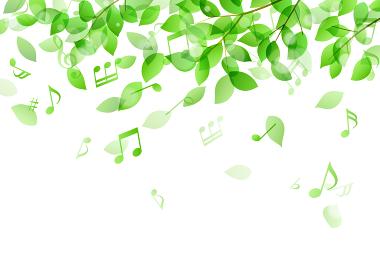 緑の葉と音符