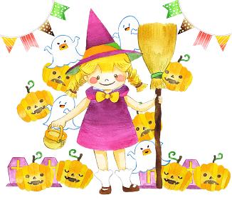 ハロウィンのかわいい魔女の水彩イラスト
