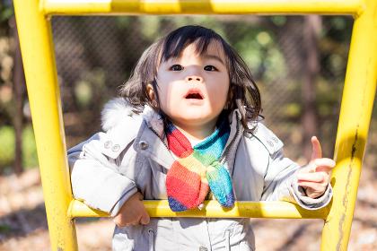 遊具で遊ぶ子ども(自然な表情・光)