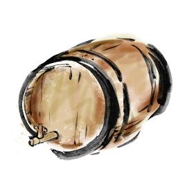 ワインを醸造する木製の樽の手描き筆書きイラスト