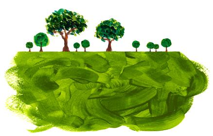 絵具で描写された木々の風景