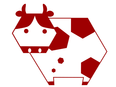 六角形にデザインされた丑年のうし