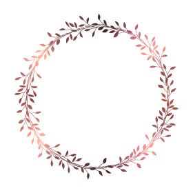 ピンクゴールドの小枝のフレームイラスト 1