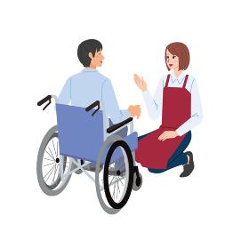 車椅子の男性と店員の女性のイラスト