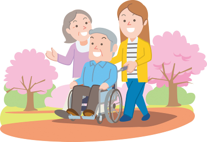 医療車椅子と家族 春