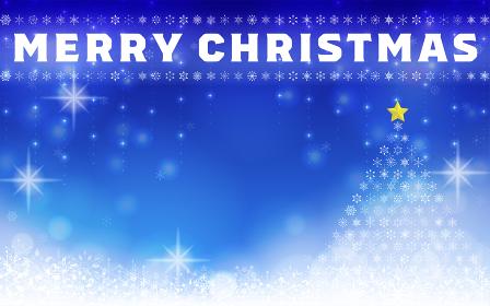 雪の結晶とクリスマスツリーのイルミネーショ