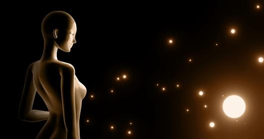 女性型マネキンと浮遊する光のポスター 背景 3DCG