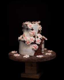 Small Cherry Blossom Wedding Cake on Walnut Cake Stand