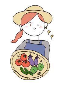 収穫した野菜を持つ農家のおしゃれな女性(まとめ髪)・1人のイラスト